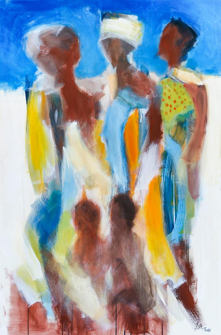 6 Drei Frauen _ Acryl 2016_ 80×120 cm