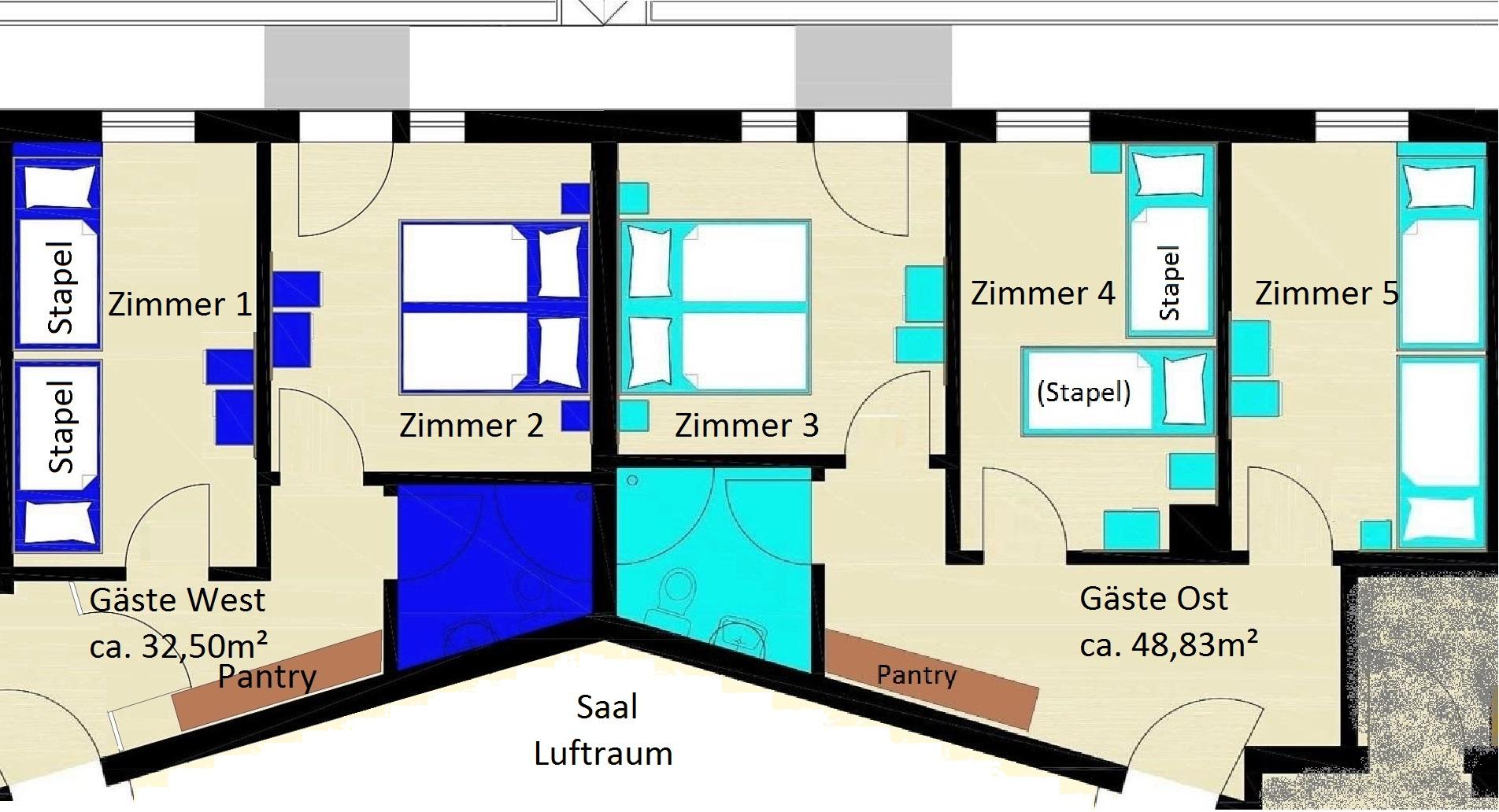 Gästezimmer Blau & Türkis